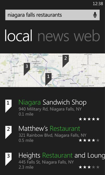 bing local search wp7